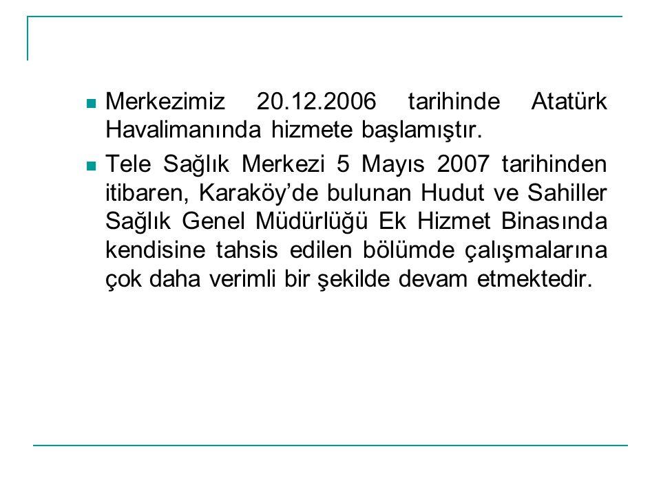 Merkezimiz 20.12.2006 tarihinde Atatürk Havalimanında hizmete başlamıştır.