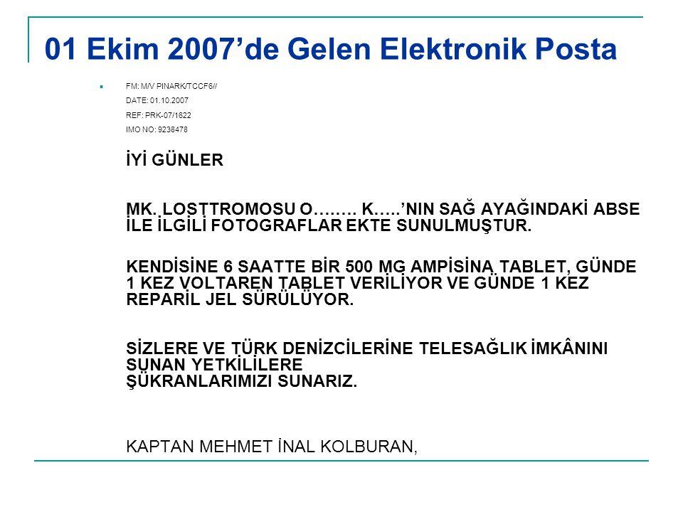 01 Ekim 2007'de Gelen Elektronik Posta