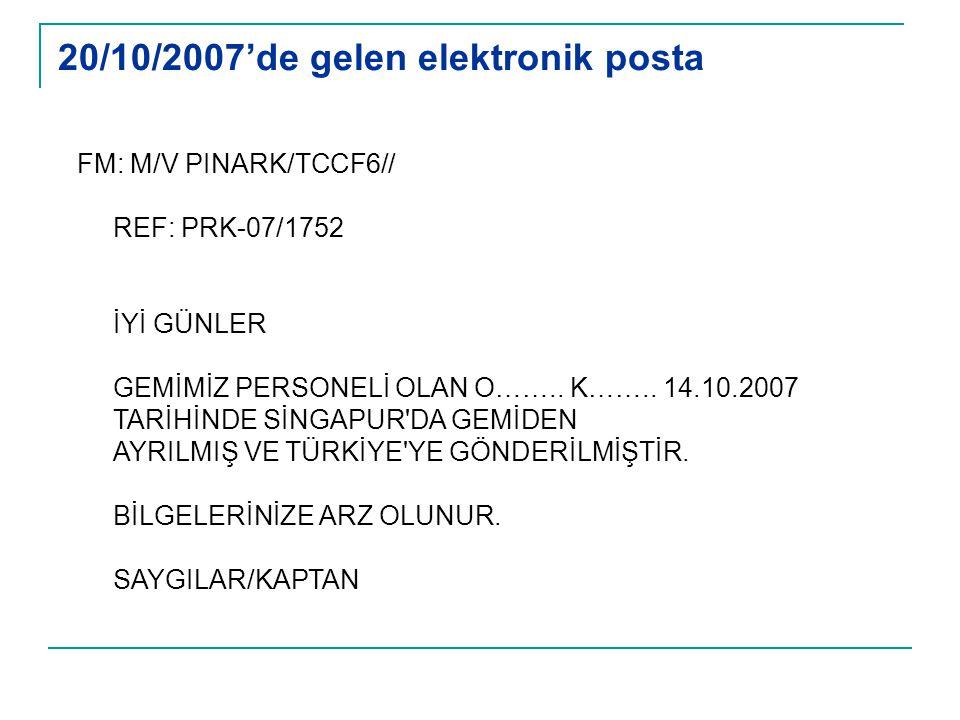20/10/2007'de gelen elektronik posta