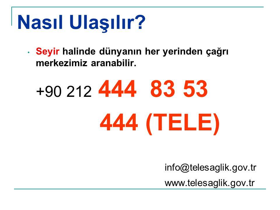 Nasıl Ulaşılır 444 (TELE) info@telesaglik.gov.tr +90 212 444 83 53