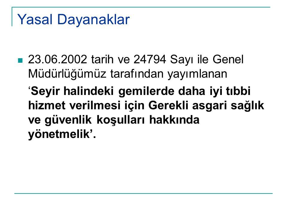 Yasal Dayanaklar 23.06.2002 tarih ve 24794 Sayı ile Genel Müdürlüğümüz tarafından yayımlanan.