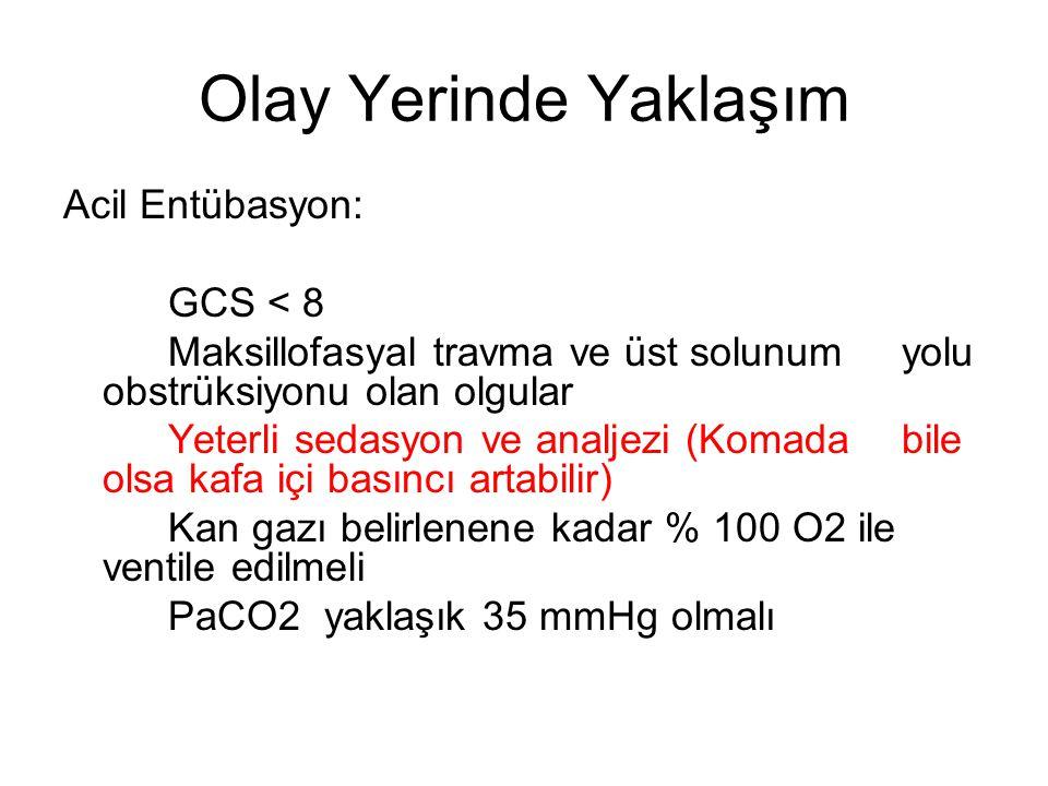 Olay Yerinde Yaklaşım Acil Entübasyon: GCS < 8