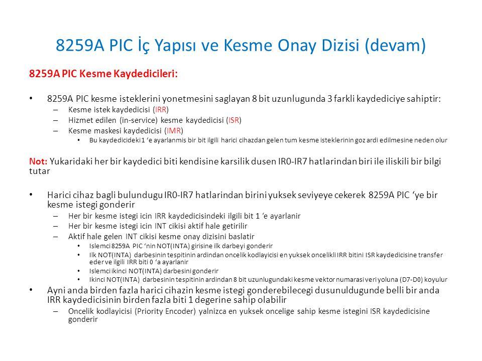 8259A PIC İç Yapısı ve Kesme Onay Dizisi (devam)