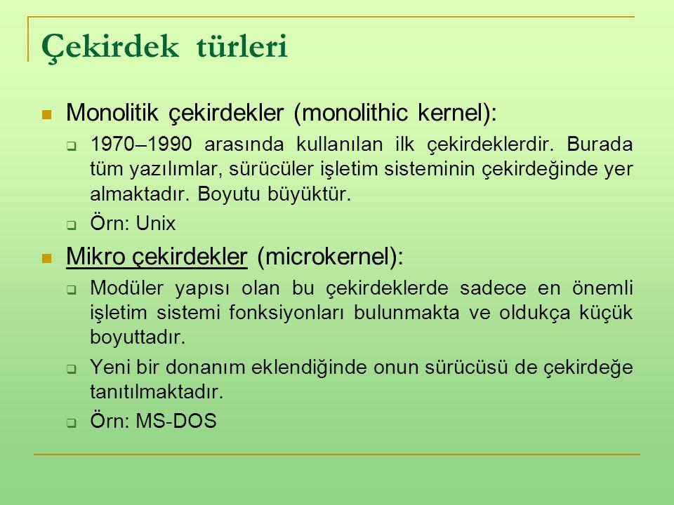 Çekirdek türleri Monolitik çekirdekler (monolithic kernel):
