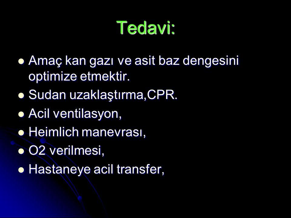 Tedavi: Amaç kan gazı ve asit baz dengesini optimize etmektir.