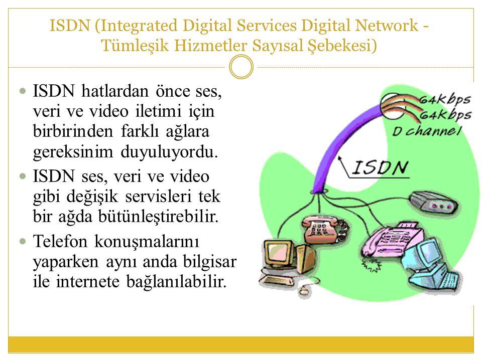 ISDN (Integrated Digital Services Digital Network - Tümleşik Hizmetler Sayısal Şebekesi)