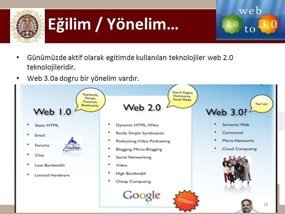 Eğilim / Yönelim… Günümüzde aktif olarak egitimde kullanılan teknolojiler web 2.0 teknolojileridir.