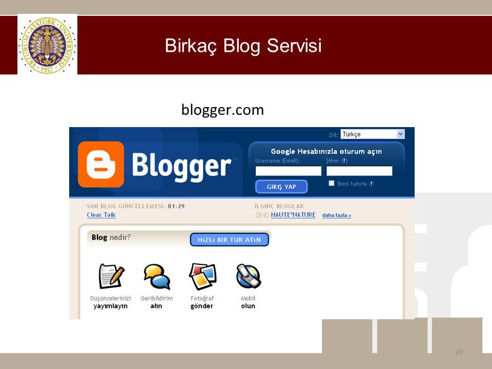 Birkaç Blog Servisi blogger.com