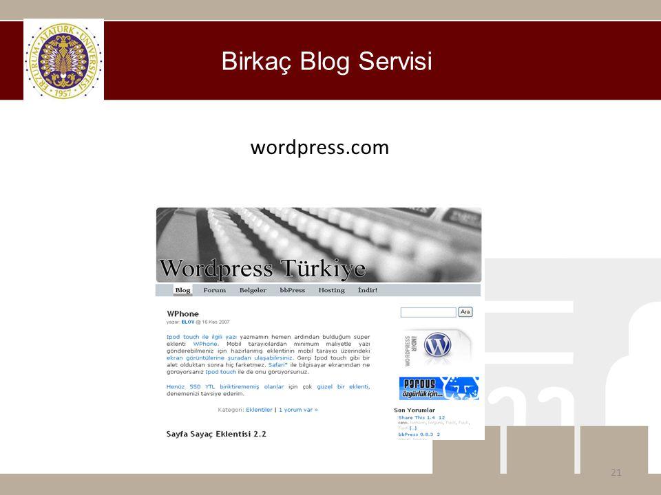 Birkaç Blog Servisi wordpress.com