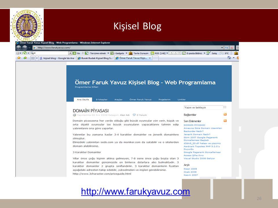 Kişisel Blog http://www.farukyavuz.com