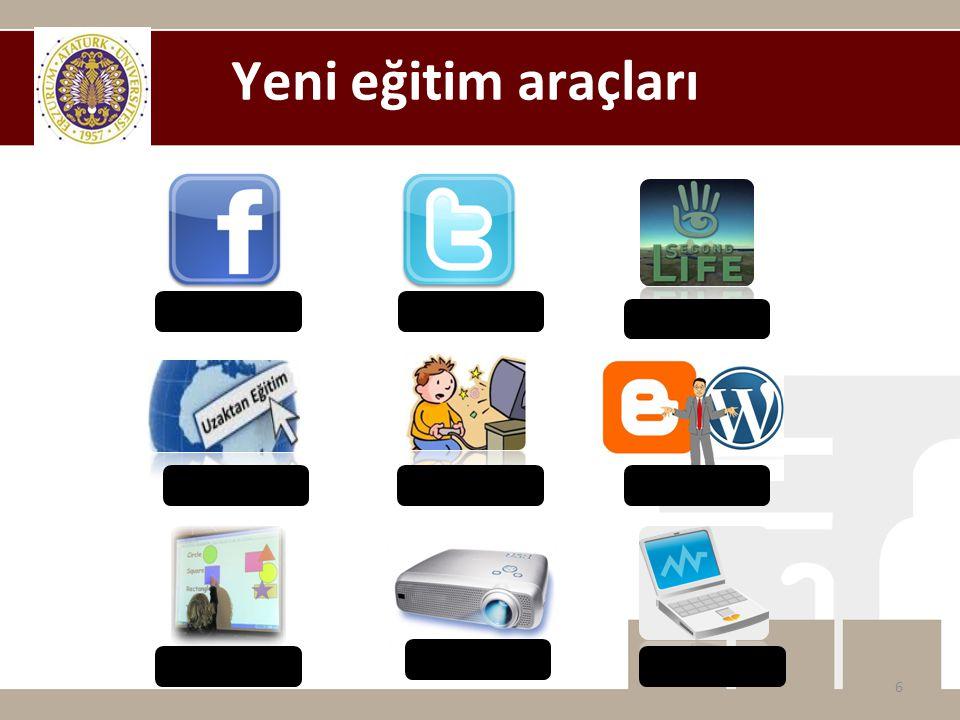 Yeni eğitim araçları Facebook Twitter SecondLife Uzaktan Eğitim