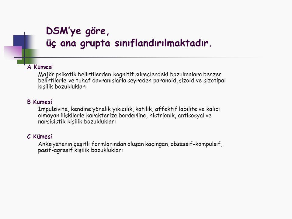 DSM'ye göre, üç ana grupta sınıflandırılmaktadır.