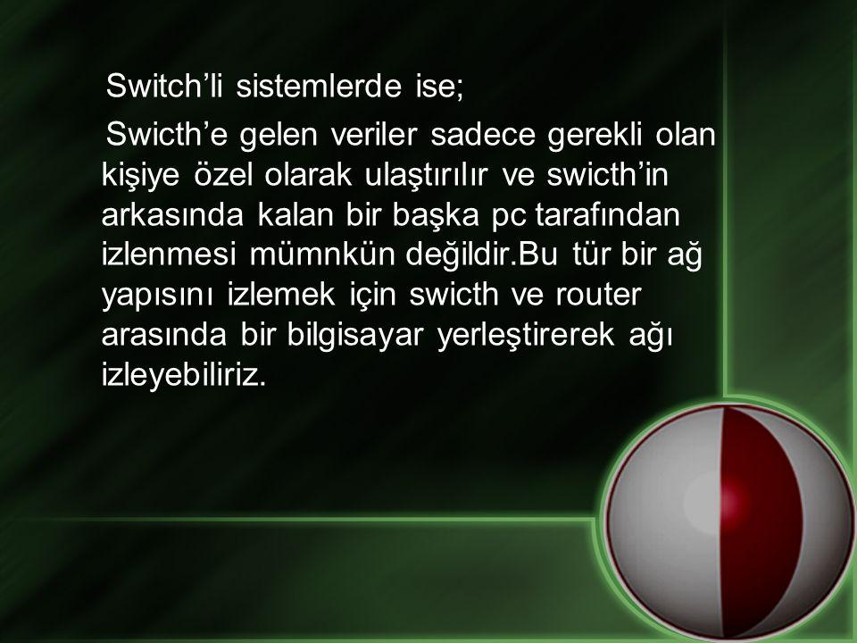 Switch'li sistemlerde ise; Swicth'e gelen veriler sadece gerekli olan kişiye özel olarak ulaştırılır ve swicth'in arkasında kalan bir başka pc tarafından izlenmesi mümnkün değildir.Bu tür bir ağ yapısını izlemek için swicth ve router arasında bir bilgisayar yerleştirerek ağı izleyebiliriz.