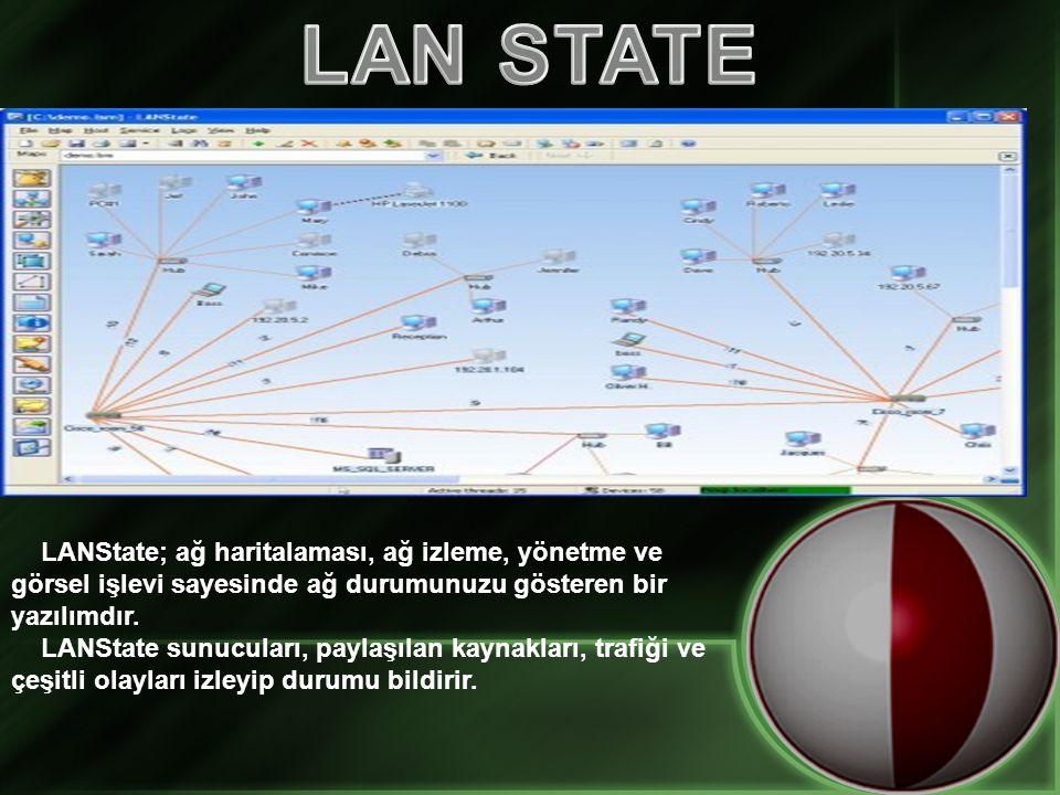 LAN STATE LANState; ağ haritalaması, ağ izleme, yönetme ve görsel işlevi sayesinde ağ durumunuzu gösteren bir yazılımdır.