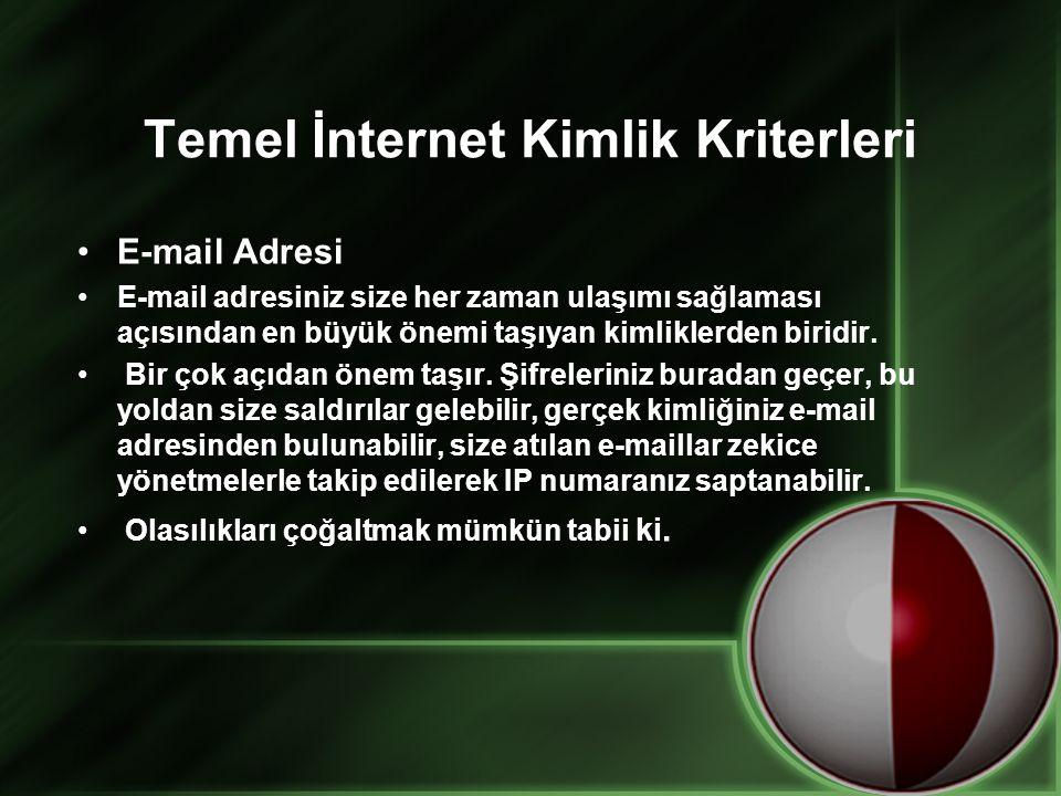Temel İnternet Kimlik Kriterleri