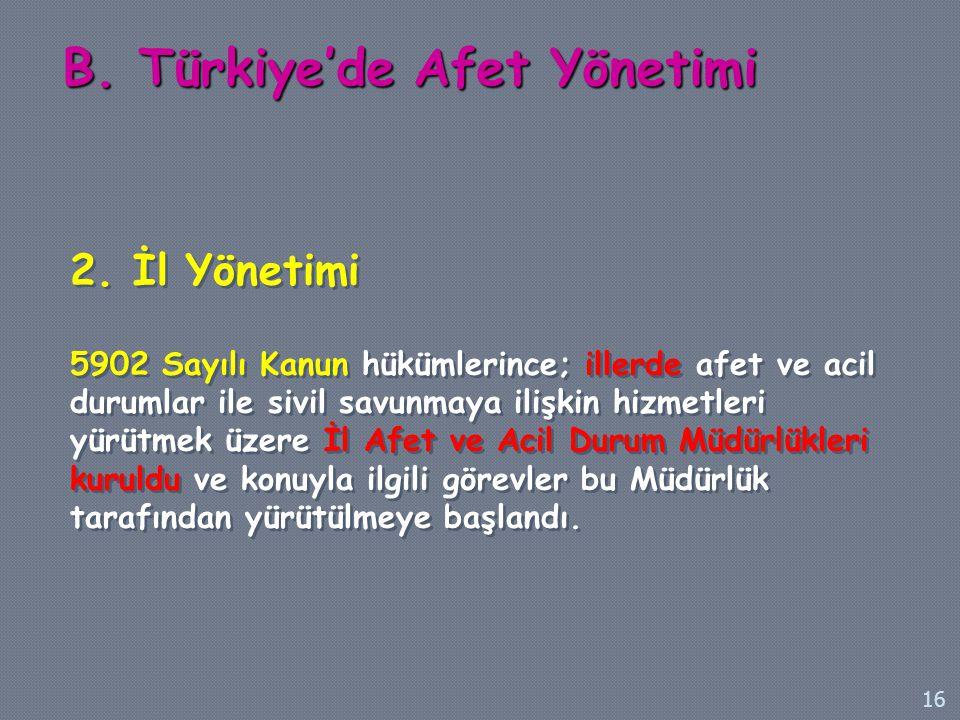 B. Türkiye'de Afet Yönetimi