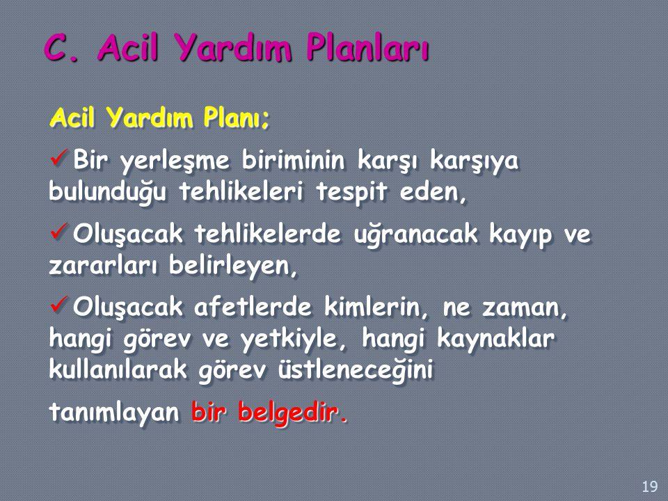 C. Acil Yardım Planları Acil Yardım Planı;