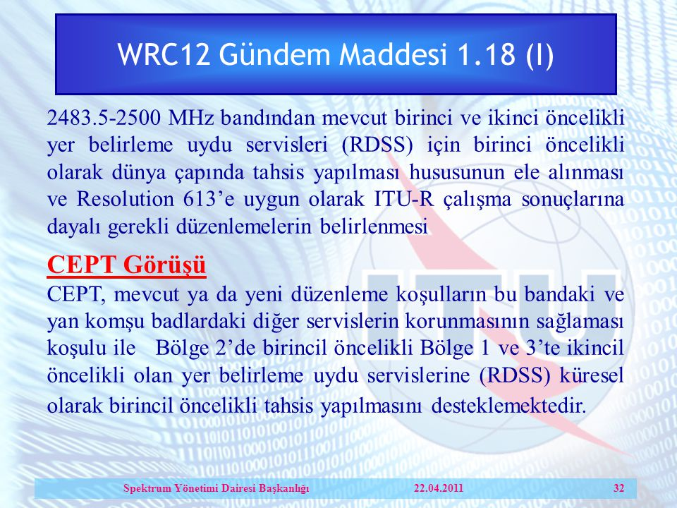 Spektrum Yönetimi Dairesi Başkanlığı 22.04.2011 32