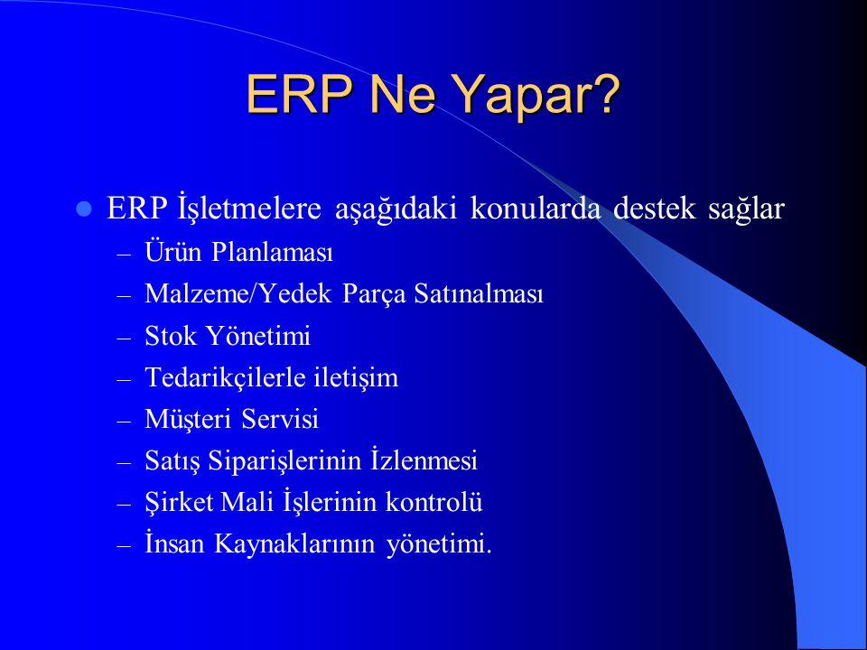ERP Ne Yapar ERP İşletmelere aşağıdaki konularda destek sağlar