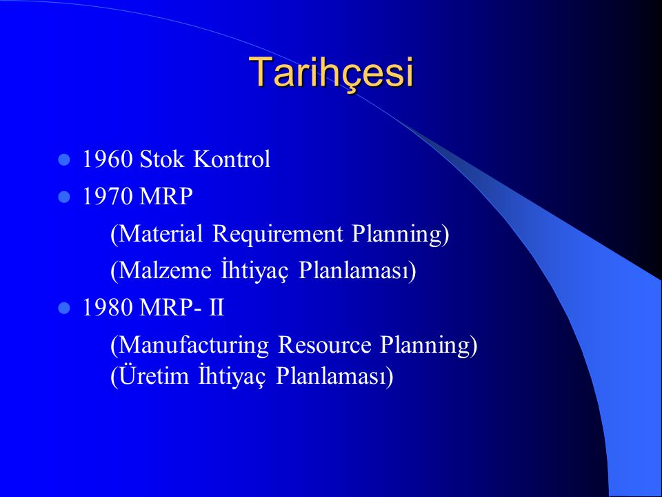 Tarihçesi 1960 Stok Kontrol 1970 MRP (Material Requirement Planning)