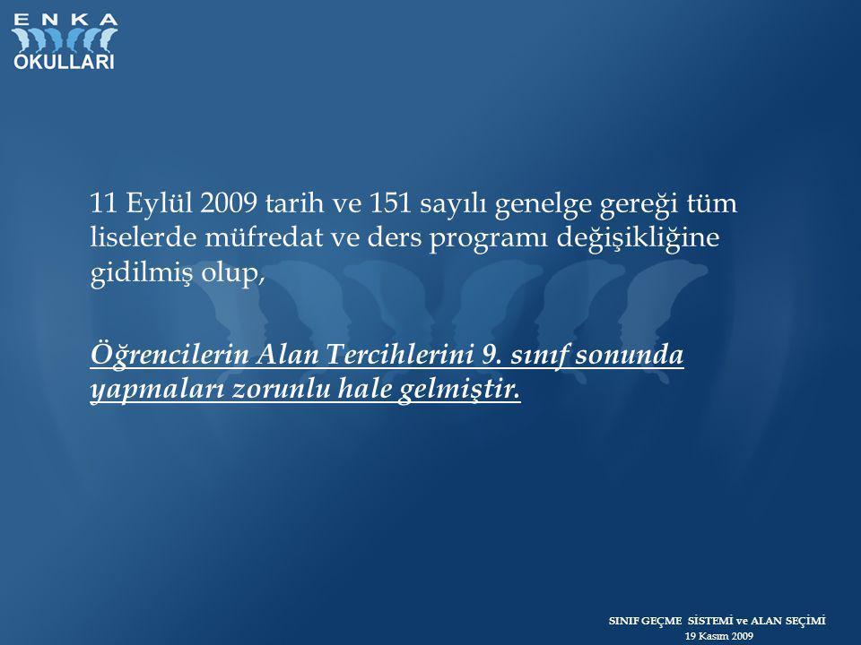 11 Eylül 2009 tarih ve 151 sayılı genelge gereği tüm liselerde müfredat ve ders programı değişikliğine gidilmiş olup, Öğrencilerin Alan Tercihlerini 9.
