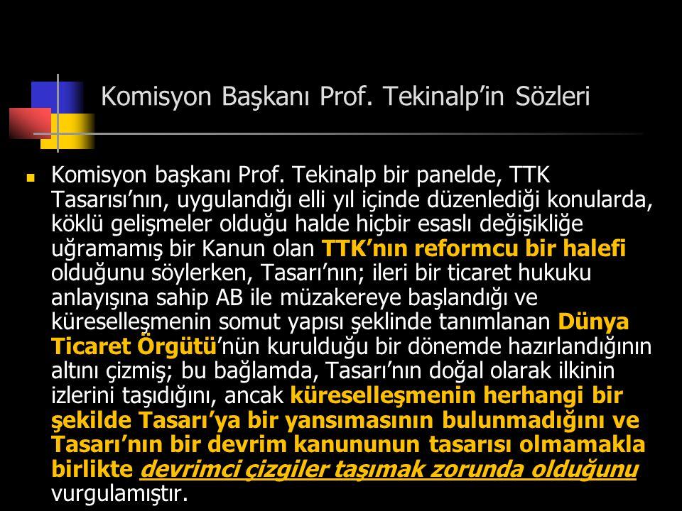 Komisyon Başkanı Prof. Tekinalp'in Sözleri