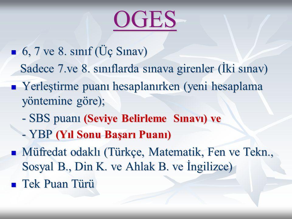 OGES 6, 7 ve 8. sınıf (Üç Sınav)