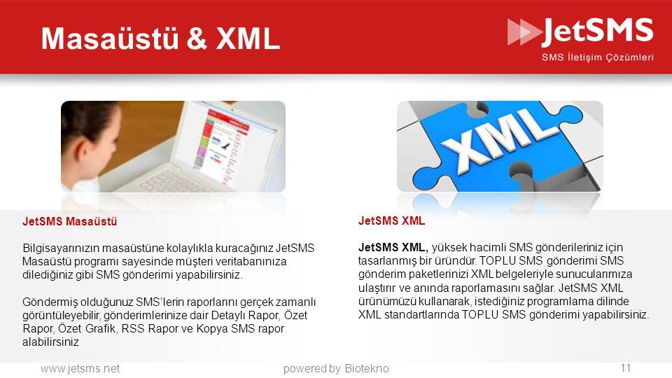 Masaüstü & XML JetSMS Masaüstü JetSMS XML