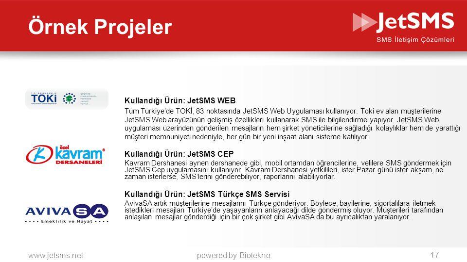 Örnek Projeler Kullandığı Ürün: JetSMS WEB