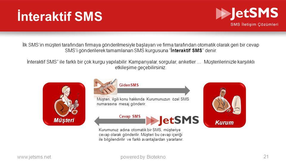 İnteraktif SMS Müşteri Kurum