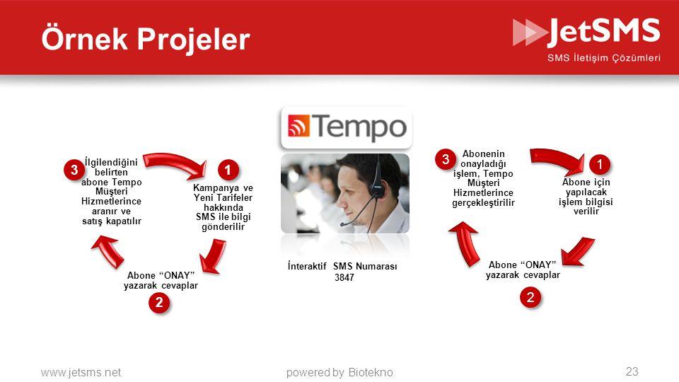 Örnek Projeler Abone için yapılacak işlem bilgisi verilir. Abone ONAY yazarak cevaplar.