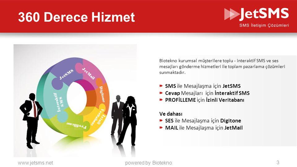 360 Derece Hizmet SMS ile Mesajlaşma için JetSMS