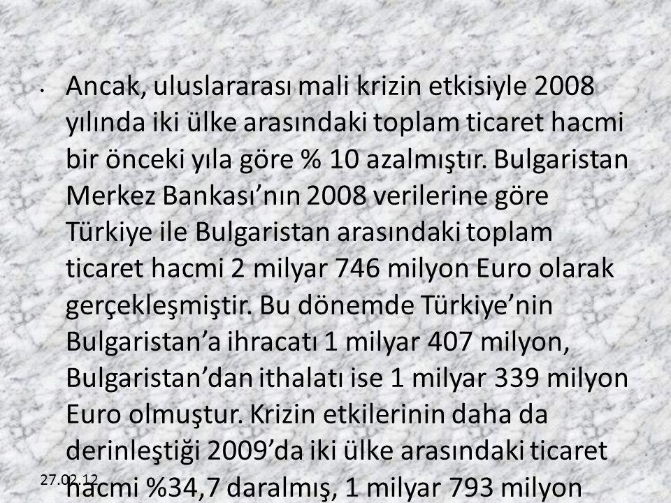 Ancak, uluslararası mali krizin etkisiyle 2008 yılında iki ülke arasındaki toplam ticaret hacmi bir önceki yıla göre % 10 azalmıştır. Bulgaristan Merkez Bankası'nın 2008 verilerine göre Türkiye ile Bulgaristan arasındaki toplam ticaret hacmi 2 milyar 746 milyon Euro olarak gerçekleşmiştir. Bu dönemde Türkiye'nin Bulgaristan'a ihracatı 1 milyar 407 milyon, Bulgaristan'dan ithalatı ise 1 milyar 339 milyon Euro olmuştur. Krizin etkilerinin daha da derinleştiği 2009'da iki ülke arasındaki ticaret hacmi %34,7 daralmış, 1 milyar 793 milyon Euro seviyesinde gerçekleşmiştir. Türkiye'nin Bulgaristan'a ihracatı % 33,6 azalarak 934 milyon Euro'ya, Bulgaristan'dan ithalatı ise % 35,8 azalarak 859 milyon Euro'ya gerilemiştir.