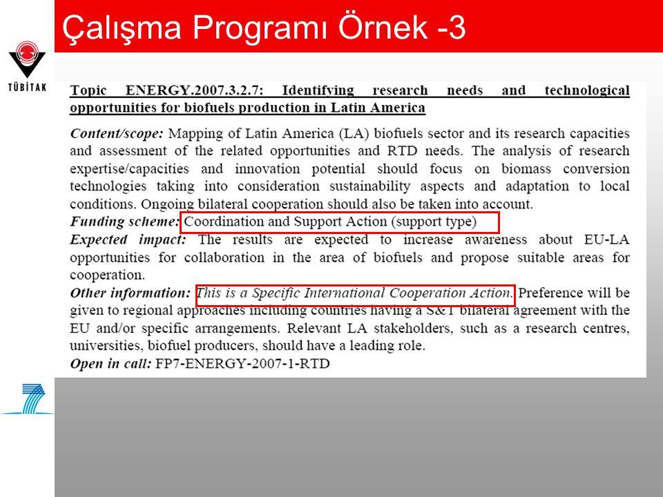 Çalışma Programı Örnek -3