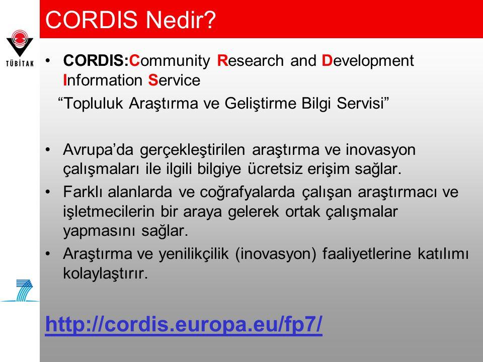 CORDIS Nedir http://cordis.europa.eu/fp7/