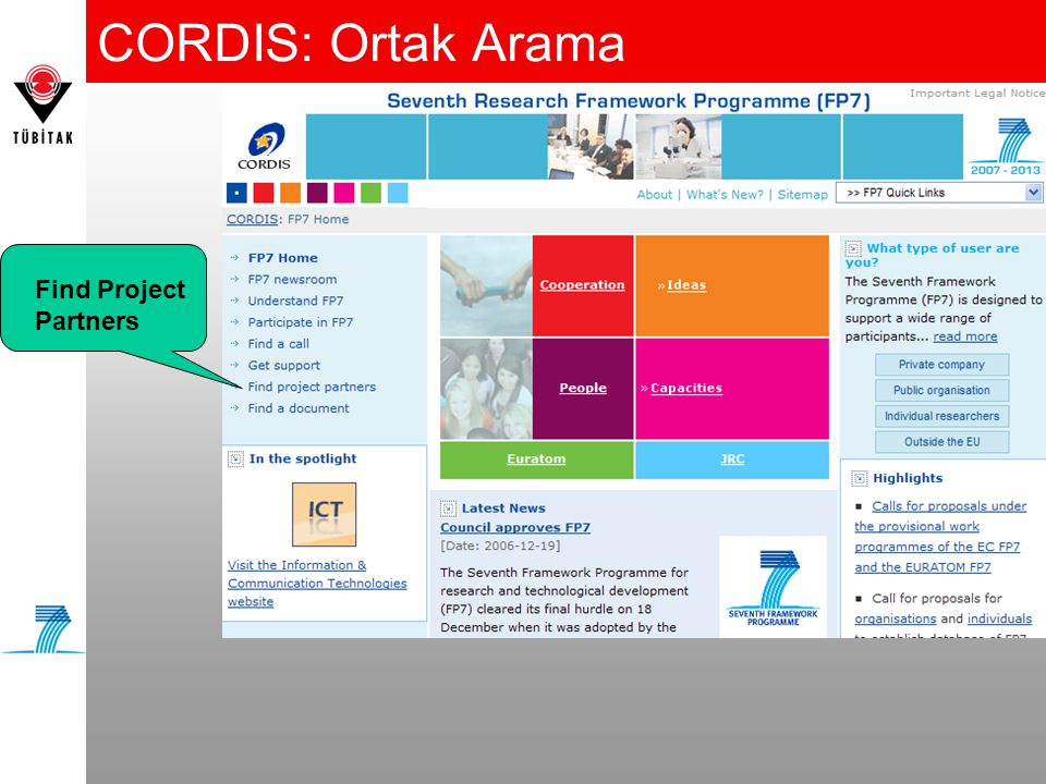 CORDIS: Ortak Arama Find Project Partners