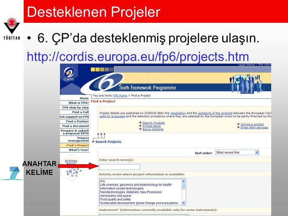 Desteklenen Projeler 6. ÇP'da desteklenmiş projelere ulaşın.