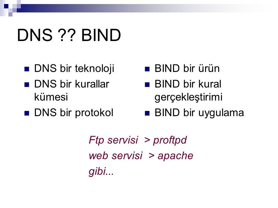 DNS BIND DNS bir teknoloji DNS bir kurallar kümesi DNS bir protokol