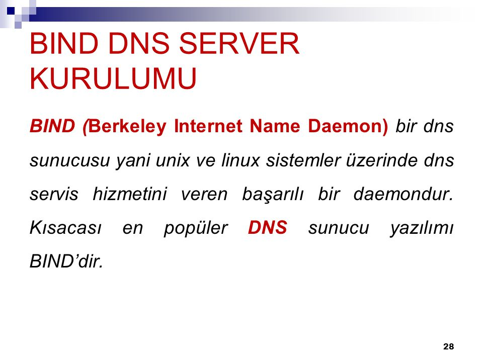 BIND DNS SERVER KURULUMU