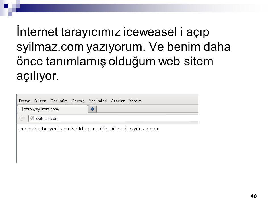 İnternet tarayıcımız iceweasel i açıp syilmaz. com yazıyorum