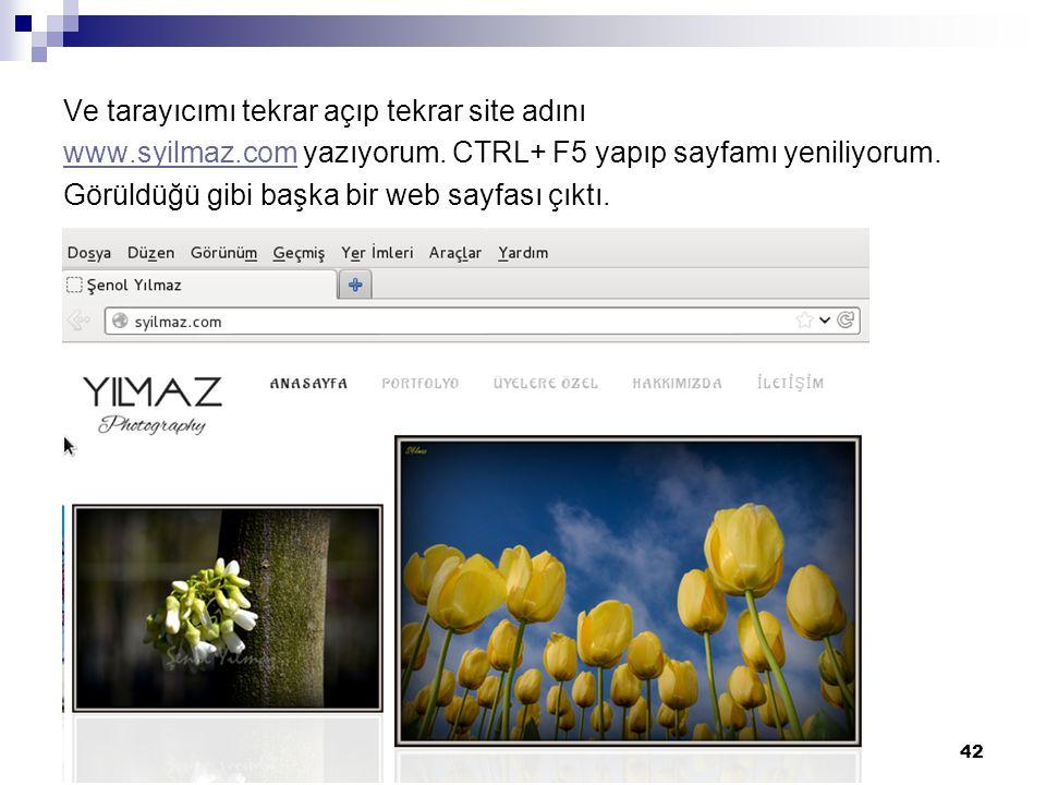 Ve tarayıcımı tekrar açıp tekrar site adını www.syilmaz.com yazıyorum.