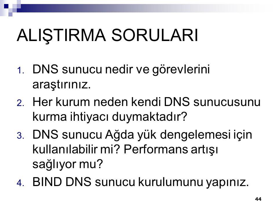 ALIŞTIRMA SORULARI DNS sunucu nedir ve görevlerini araştırınız.