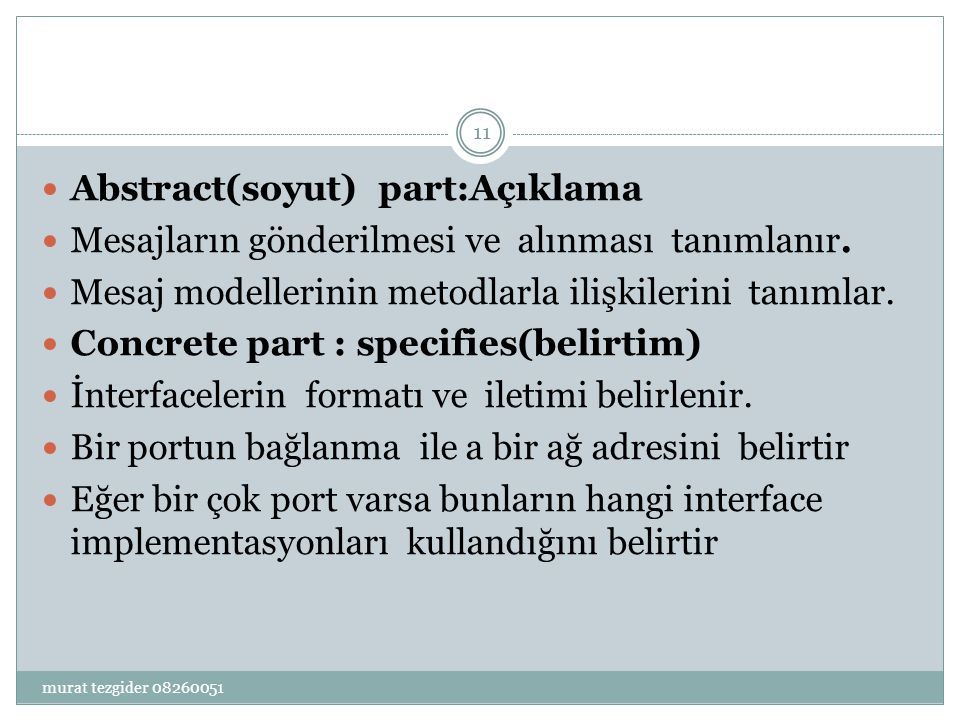 Abstract(soyut) part:Açıklama