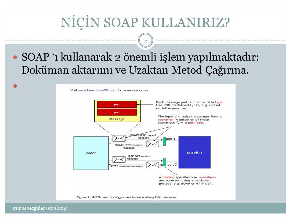 NİÇİN SOAP KULLANIRIZ SOAP 'ı kullanarak 2 önemli işlem yapılmaktadır: Doküman aktarımı ve Uzaktan Metod Çağırma.