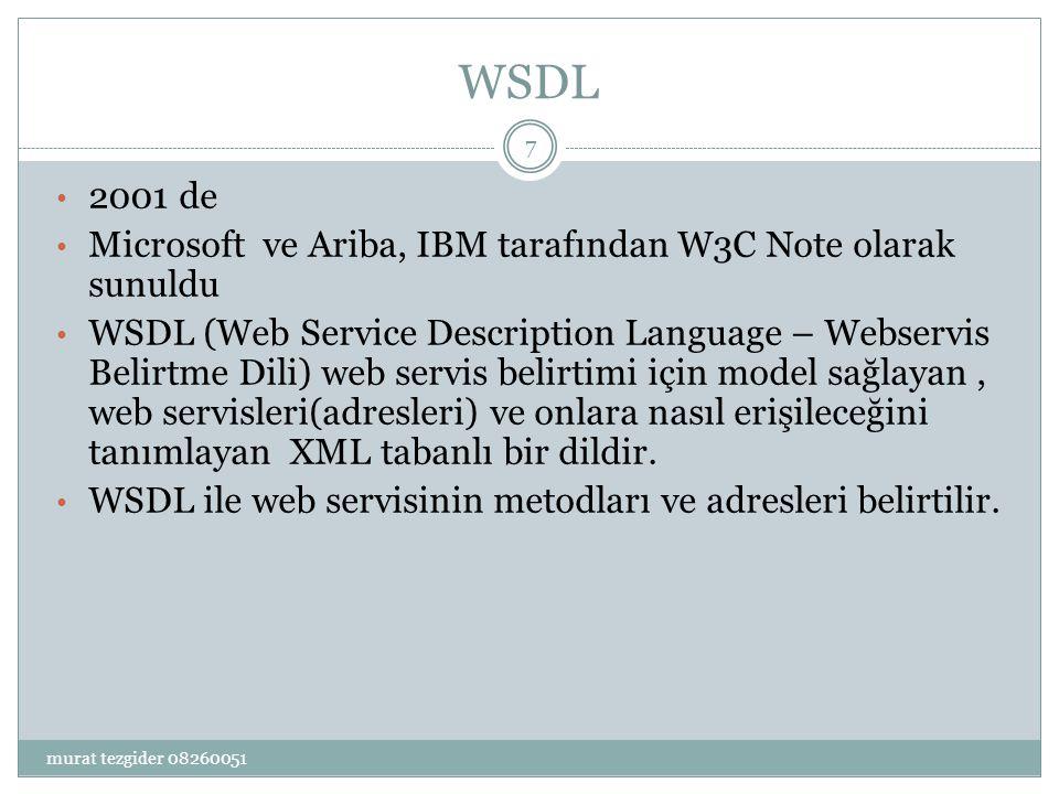 WSDL 2001 de. Microsoft ve Ariba, IBM tarafından W3C Note olarak sunuldu.