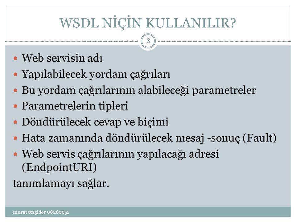 WSDL NİÇİN KULLANILIR Web servisin adı Yapılabilecek yordam çağrıları