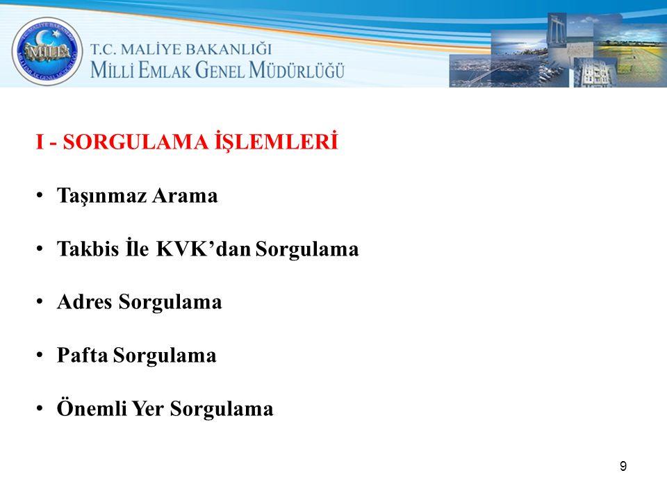 I - SORGULAMA İŞLEMLERİ