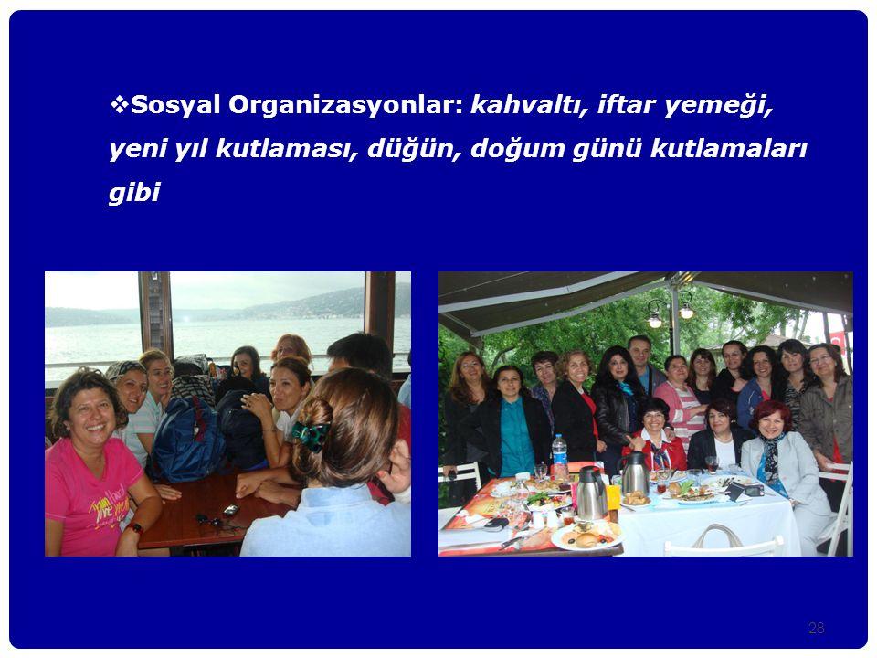 Sosyal Organizasyonlar: kahvaltı, iftar yemeği, yeni yıl kutlaması, düğün, doğum günü kutlamaları gibi