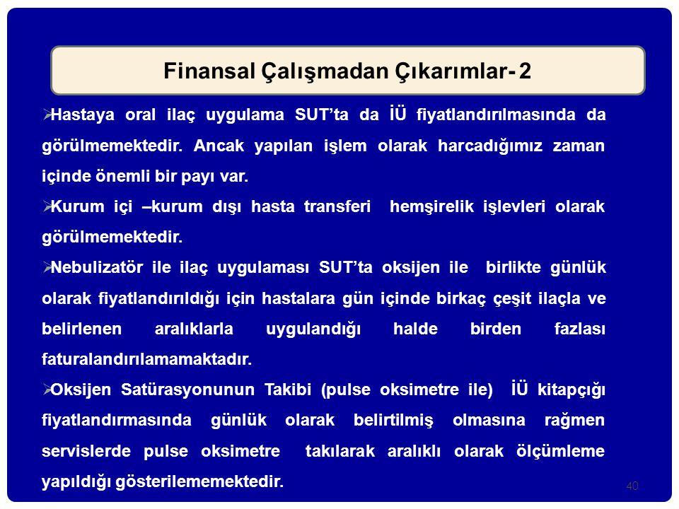 Finansal Çalışmadan Çıkarımlar- 2
