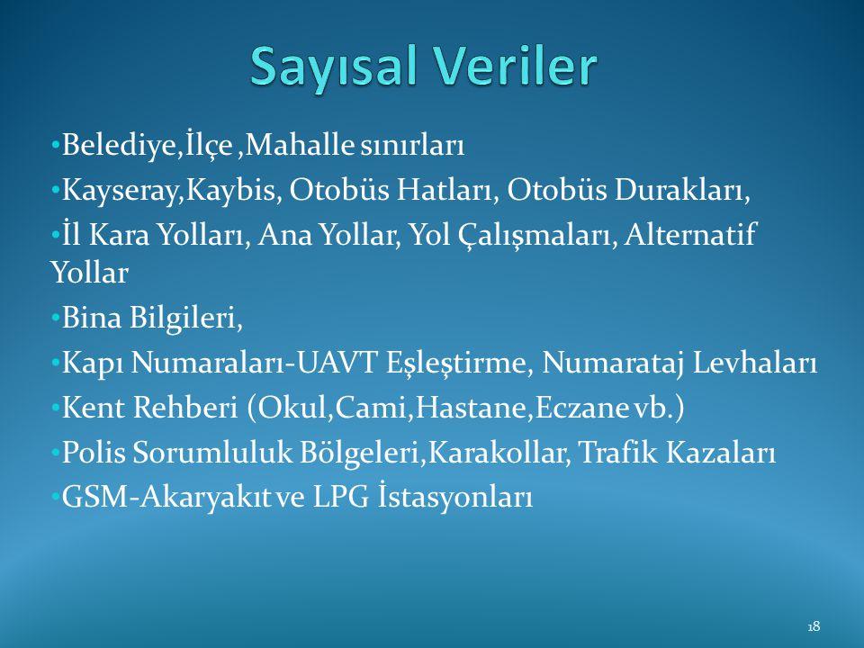 Sayısal Veriler Belediye,İlçe ,Mahalle sınırları
